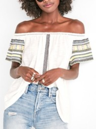 Women's Lucky Brand Embroidered Off The Shoulder Short Sleeve Shirt