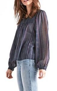 Women's Lucky Brand Border Print Peasant Long Sleeve Shirt