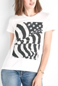 Women's Lucky Brand Flag Rouche Back Short Sleeve Shirt