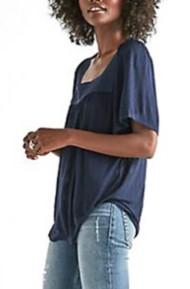 Women's Lucky Brand Shadow Stripe Peasant Short Sleeve Shirt