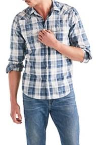 Men's Lucky Brand Long Sleeve Western Stretch Indigo Long Sleeve Shirt