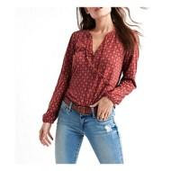 Women's Lucky Brand Printed Tassles V-Neck Long Sleeve Shirt