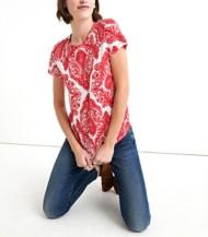 Women's Lucky Brand Allover Paisley Printed Short Sleeve Shirt