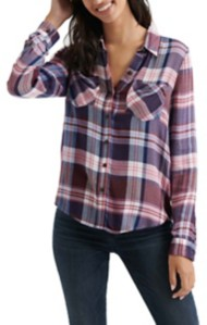 Women's Lucky Brand Classic Pleated Plaid Long Sleeve Shirt