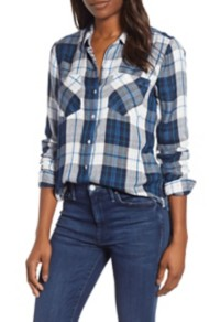 Women's Lucky Brand Pleat-Back Plaid Top