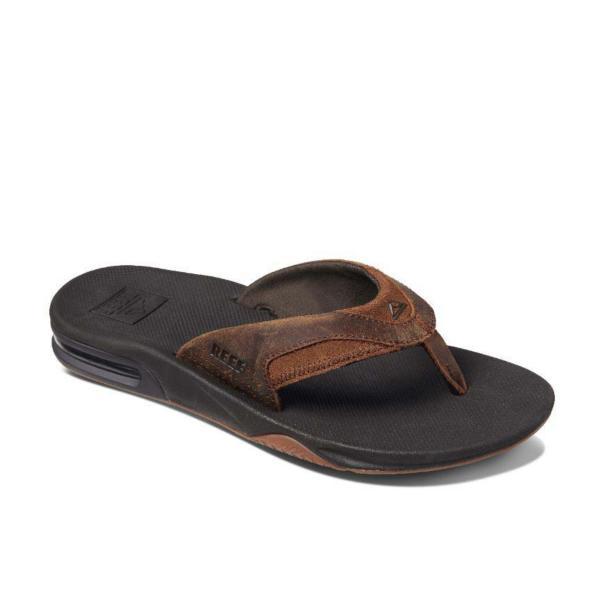 e0d81436e Men s Reef Leather Fanning Flip Flop Sandals