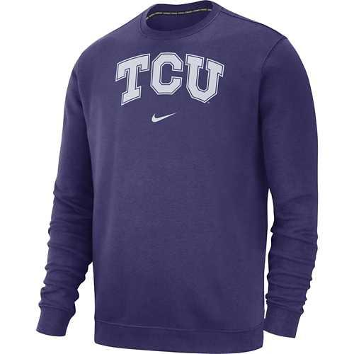 Nike TCU Horned Frogs Wordmark Club Fleece Crewneck Sweatshirt