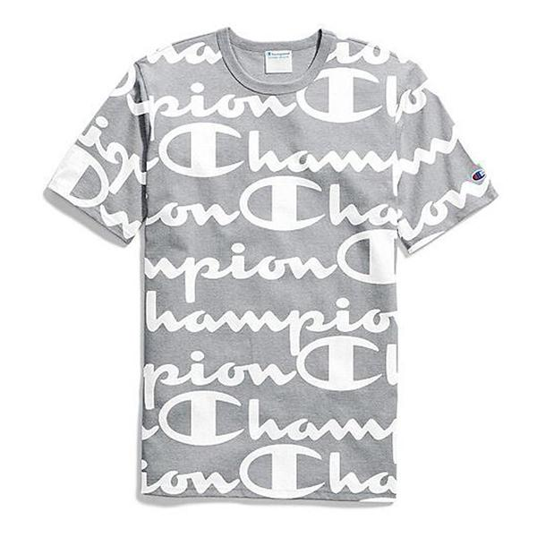 124f2bee9a28 ... Men's Champion All Over Script Logo T-Shirt Tap to Zoom; All Over Print  Oxford Grey
