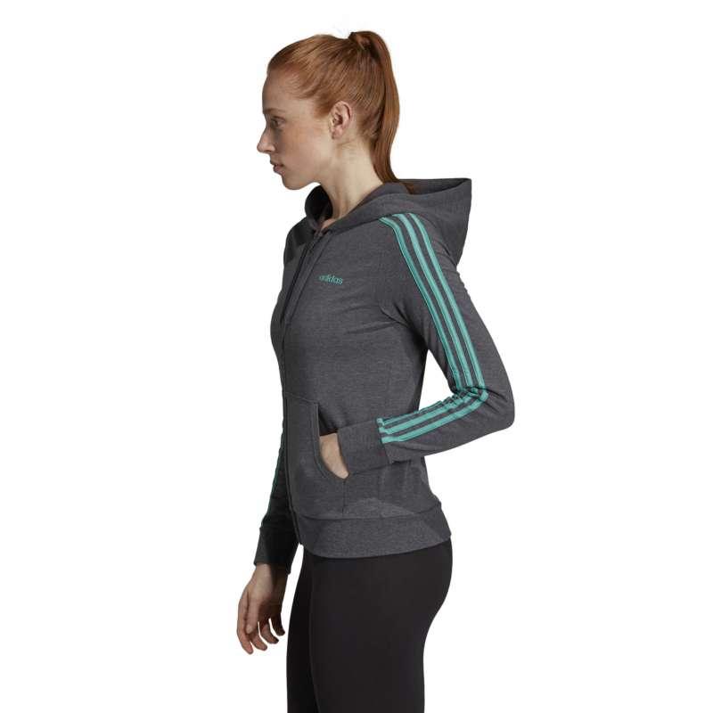 Women's adidas Essentials 3 Stripes Single Jersey Full Zip Hoodie ...