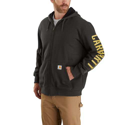 Men's Carhartt Rain Defender Fleece Lined Logo Graphic Full Zip Hoodie
