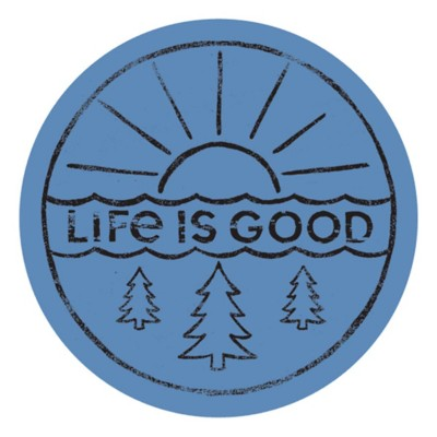 """Life is Good Sunrise and Trees 4"""" Circle Sticker"""