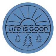 "Life is Good Sunrise and Trees 4"" Circle Sticker"