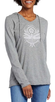 Women's Life is Good Primal Dragonfly Long Sleeve Hooded Smooth Tee