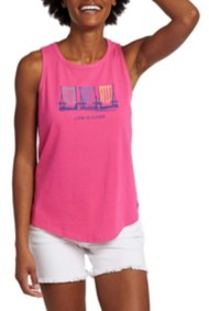 Women's Life is Good Beach Chairs High-Low Crusher Tank