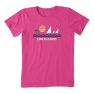 Women's Life is Good Minimalist Beach Crusher T-Shirt