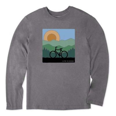 Men's Life is Good Sunrise Bike Cool Long Sleeve Shirt