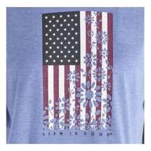 Women's Life is Good Flower Flag Ringer Cool T-Shirt