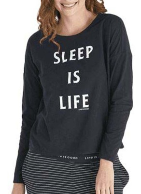 Women's Life is Good Snuggle Up Relaxed Sleep Long Sleeve Shirt