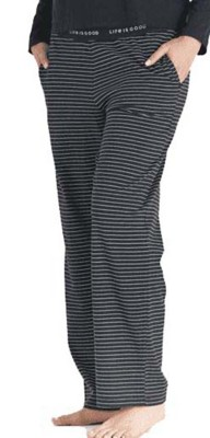Women's Life is Good Black & White Stripe Snuggle Up Sleep Pant