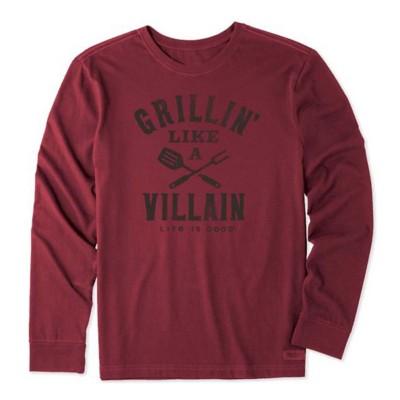 Men's Life is Good Grillin Like A Villian Crusher Long Sleeve Shirt
