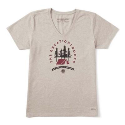 Women's Life is Good Adventure Awaits Crusher Vee T-Shirt