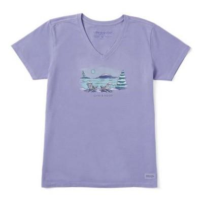 Women's Life is Good Lovely Winter Crusher Vee T-Shirt
