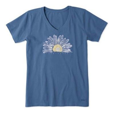 Women's Life is Good Watercolor Daisy Crusher Vee T-Shirt