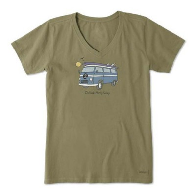 Women's Life is Good Outlook Mostly Sunny Crusher Vee T-Shirt