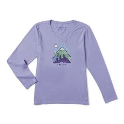 Women's Life is Good Unplug Mountain Crusher Vee Long Sleeve Shirt