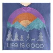 Women's Life is Good Friends Walking Crusher Vee Long Sleeve Shirt