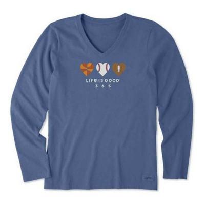 Women's Life is Good Love Sports 365 Crusher Vee Long Sleeve Shirt