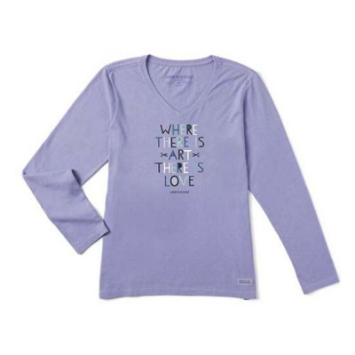 Women's Life is Good Where There Is Art There Is Crusher Vee Long Sleeve Shirt