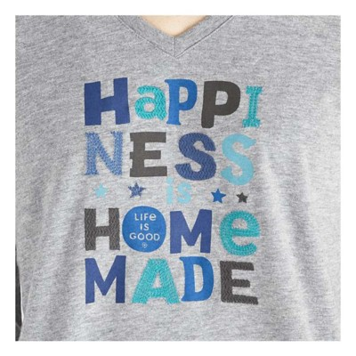 Women's Life is Good Happiness Is Homemade Crusher Vee Long Sleeve Shirt