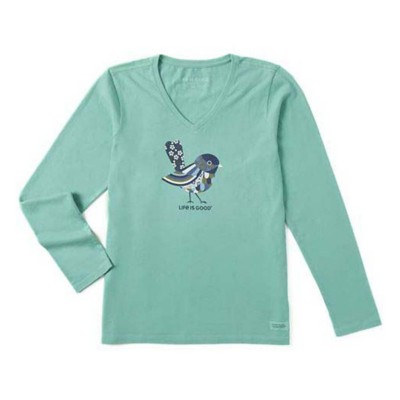 Women's Life is Good Colorful Bird Crusher Vee Long Sleeve Shirt