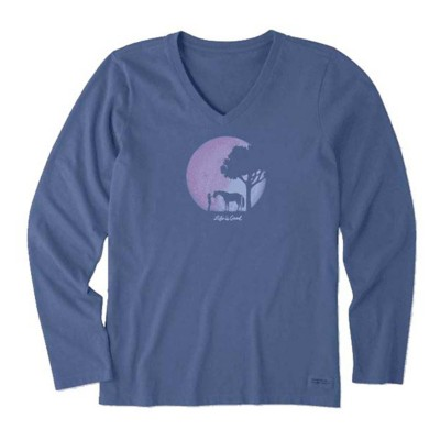 Women's Life is Good Celestial Horse Crusher Vee Long Sleeve Shirt