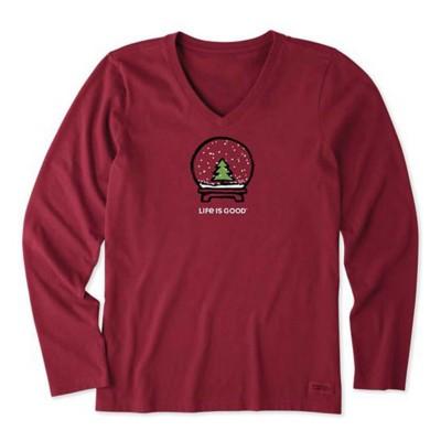 Women's Life is Good Evergreen Snow Globe Crusher Vee Long Sleeve Shirt