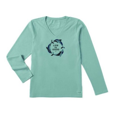 Women's Life is Good Tri Dolphins Crusher Vee Long Sleeve Shirt