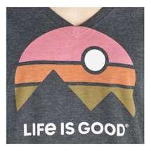 Women's Life is Good Mountain Vibes Cool Vee Long Sleeve Shirt