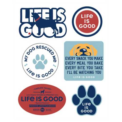 Life Is Good Dog 6 Pack Stickers