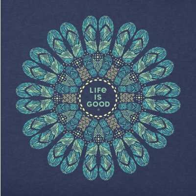 Women's Life Is Good Flip Flop Mandala Crusher T-Shirt