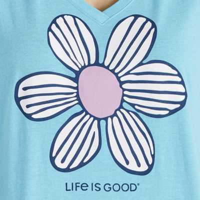 Women's Life is Good Floral Element Snuggle Up Relaxed Sleep T-Shirt