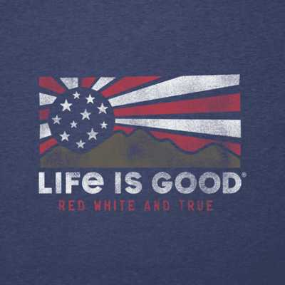 Men's Life is Good Red White & True Mountains T-Shirt
