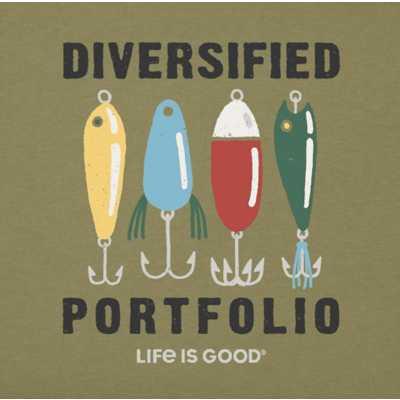 Men's Life Is Good Diversified Portfolio Fishing Crusher T-Shirt
