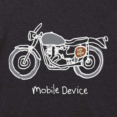 Men's Life is Good Mobile Device Motorcycle T-Shirt