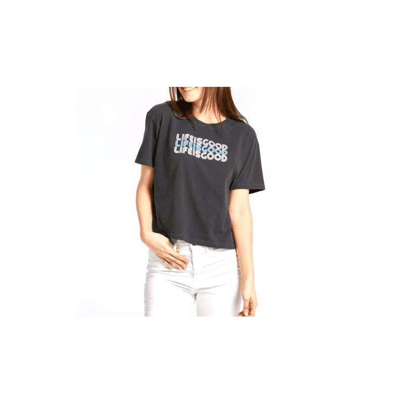 Women's Life Is Good Retro Stack Boxy Crusher T-Shirt