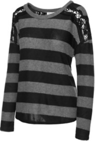 Women's Downeast Striped Lace Sweater