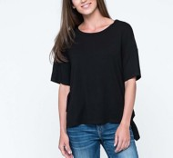 Women's Downeast Side Ruffle Short Sleeve Shirt