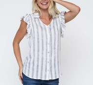 Women's Downeast Everyday Classic  Stiped Cap Sleeve Shirt