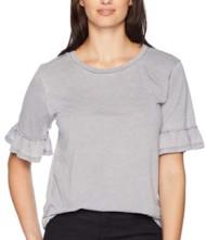 Women's dylan Bowery Burnout Ruffle Short Sleeve Shirt
