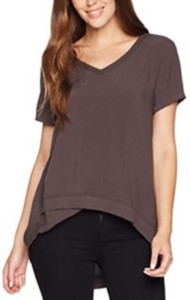 Women's dylan Asymmetrical Ribbed V Neck Short Sleeve Shirt